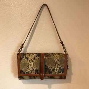Brahmin Leather Snakeskin print Shoulder Bag